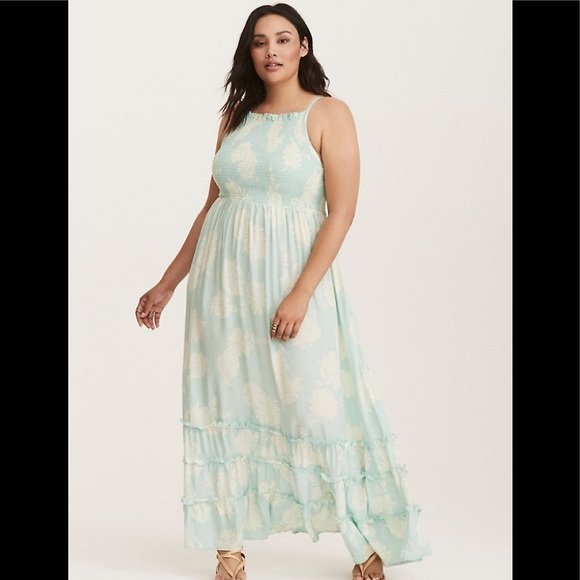 TORRID PLUSSIZE MINT GREEN/WHITE FLORAL MAXI DRESS